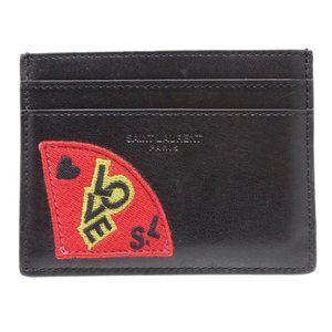 New Saint Laurent Black Love Patch Card Holder